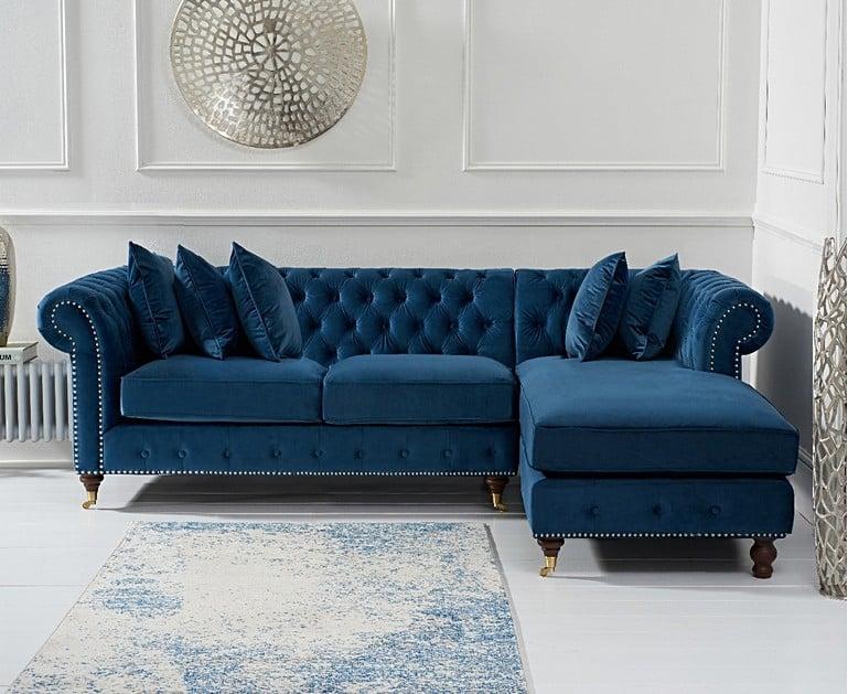 Flora Blue Velvet Chesterfield Corner Sofa