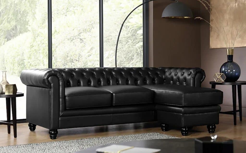 Hampton Black Leather Chesterfield Corner Sofa