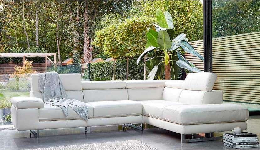 Milano Corner Chaise White Leather Sofa