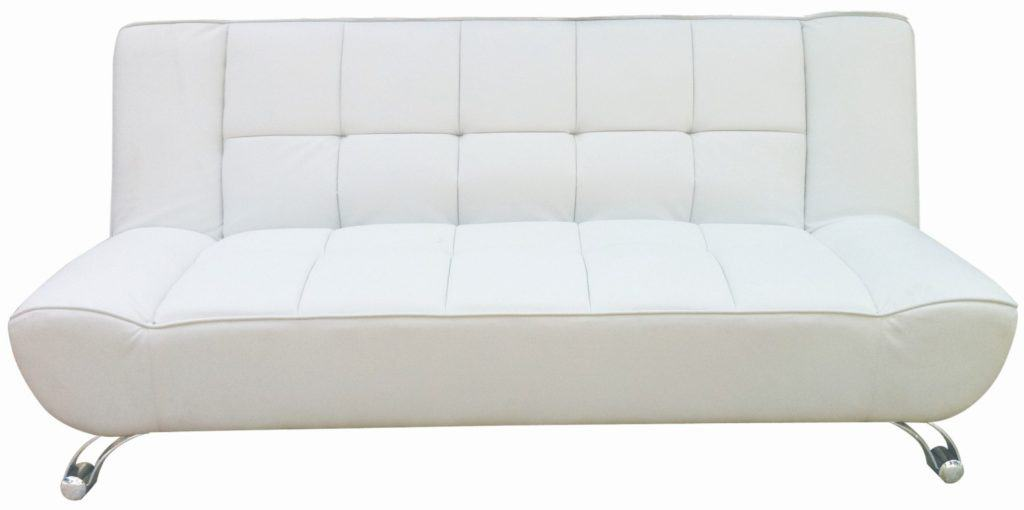 Agata White Faux Leather Sofa Bed With Curved Chrome Finish Legs