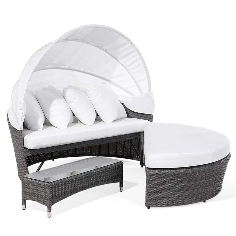 2 Piece Rattan Garden Daybed Set with Cushions