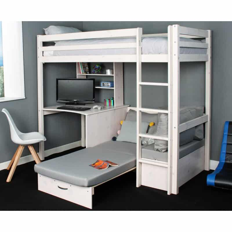 Cutler High Sleeper Bed with Shelf, Desk & Futon