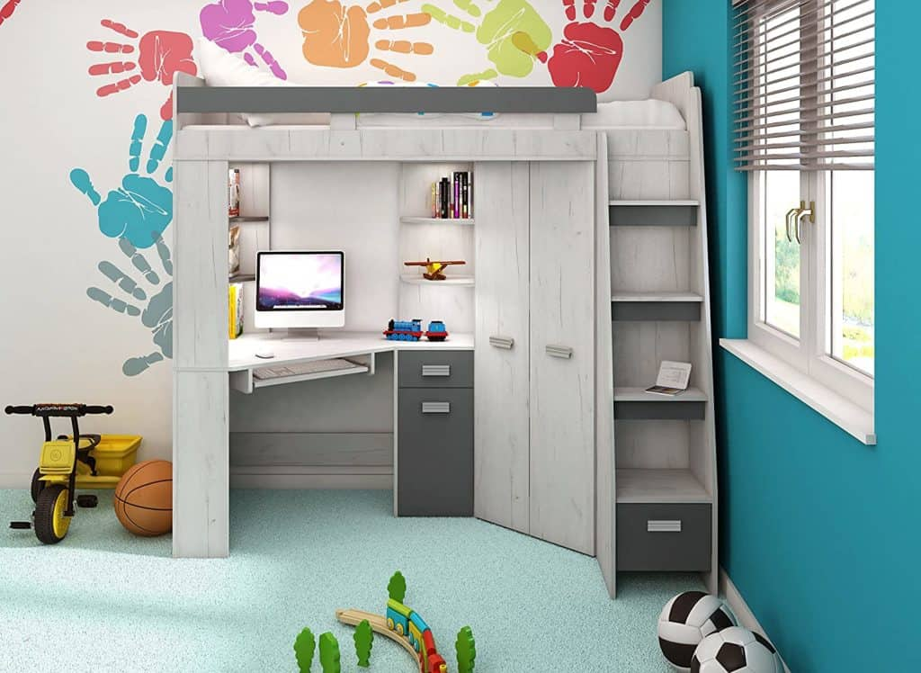 High Sleeper Bed With Wardrobe & Desk (Furniture By JDM)