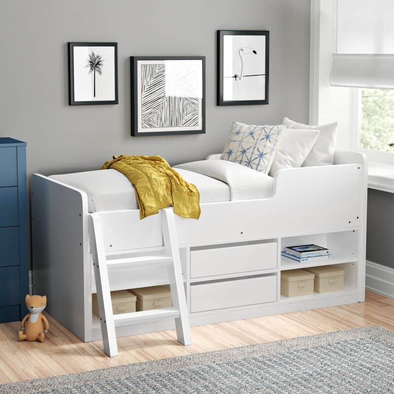 Mckinley Single (3') Mid Sleeper Bed with Drawers and Shelves