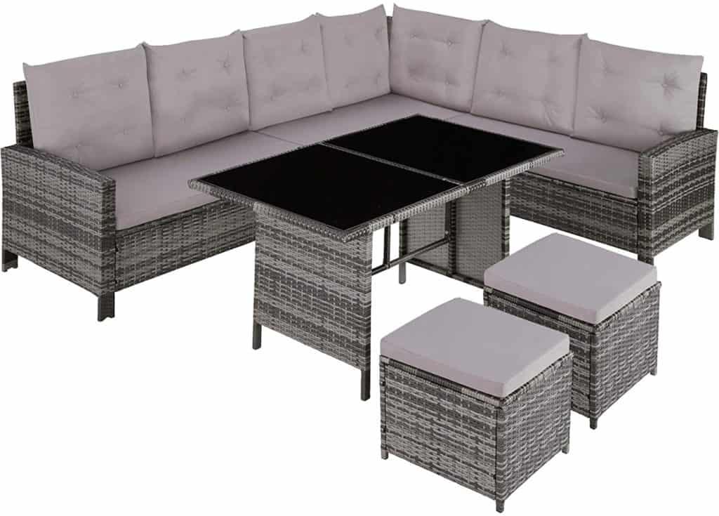 TecTake Rattan Corner Sofa Dining Set