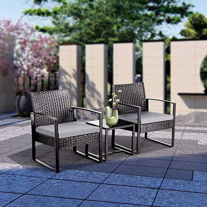 Yaheetech 3 PCS Rattan Wicker furniture Set