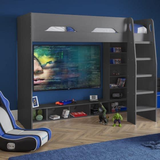 Galaxy Grey Wooden Gaming High Sleeper Frame (Happy Beds)