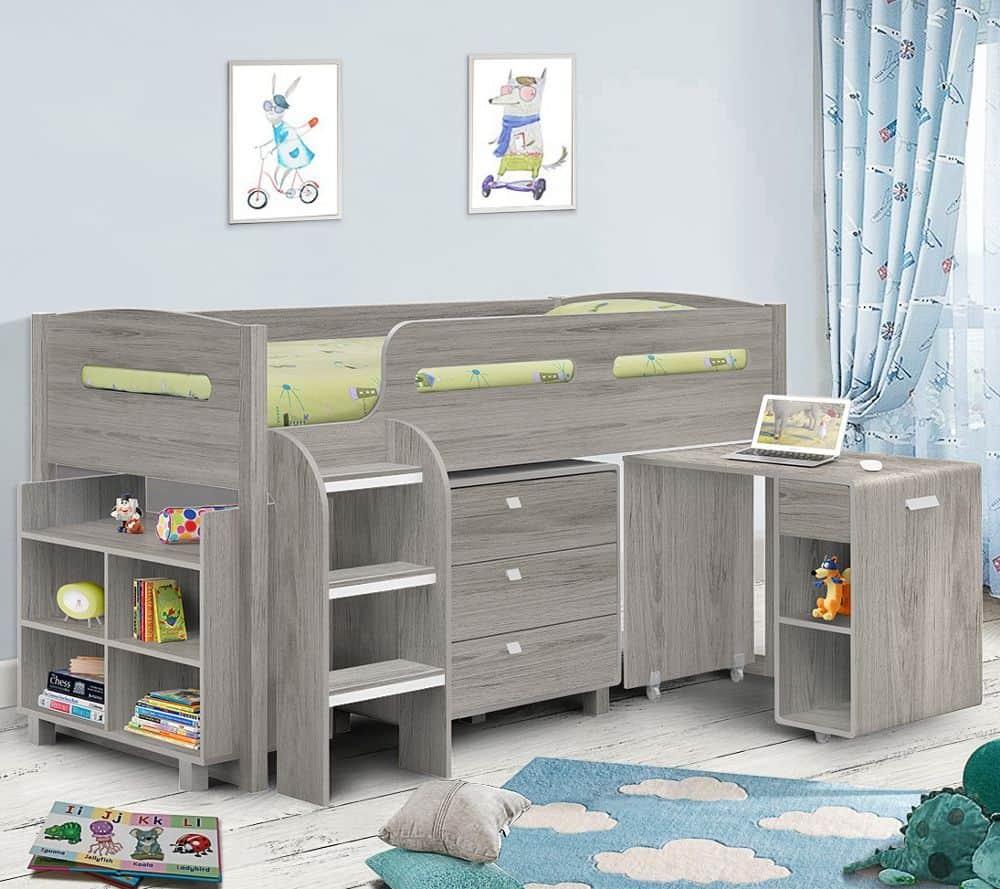 Kimbo Grey Oak Mid Sleeper Cabin Bed Frame