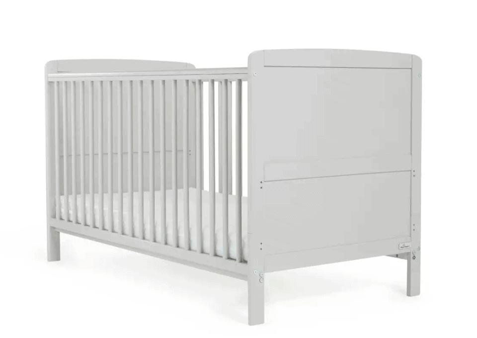 Baby Elegance Travis Baby Cot Bed with Mattress - Grey