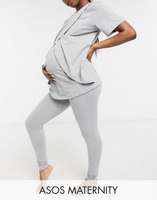 ASOS DESIGN Maternity mix & match jersey set in grey marl