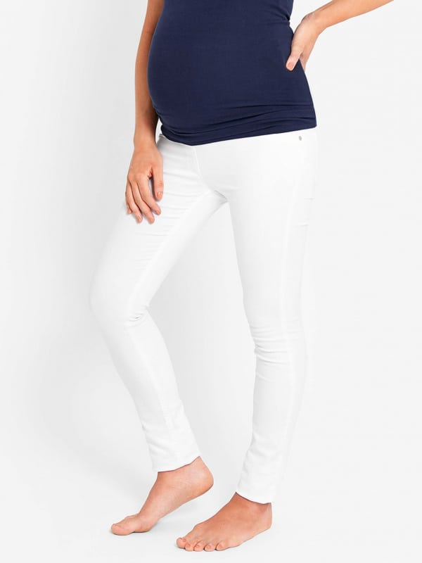JoJo Maman Bebe White Maternity Jeans