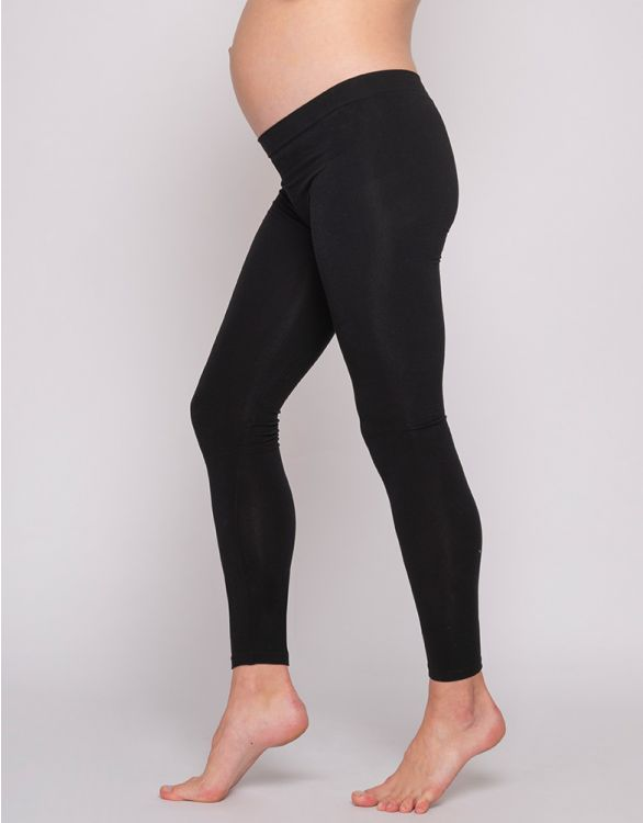 Black Bamboo Under-Bump Maternity Leggings