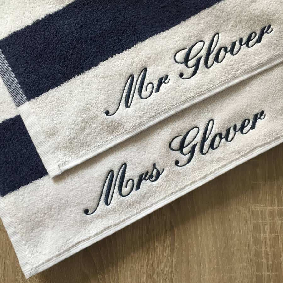 Personalised Mr & Mrs Embroidered Beach Towels (Not On The High Street)
