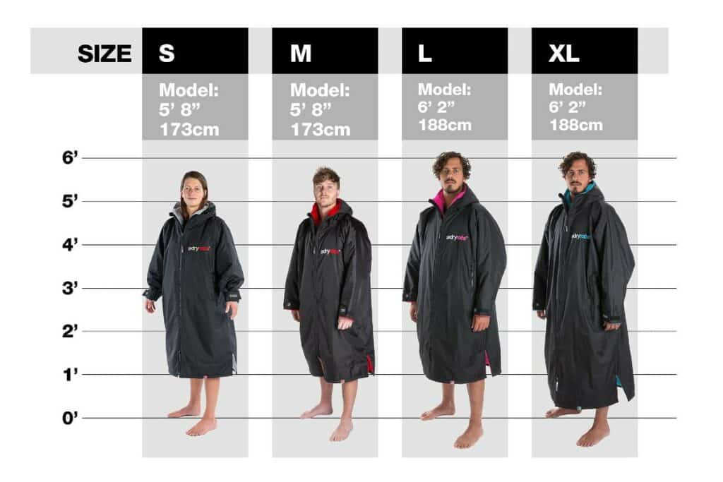 Dryrobe size guide for adults - small, medium, large and extra large