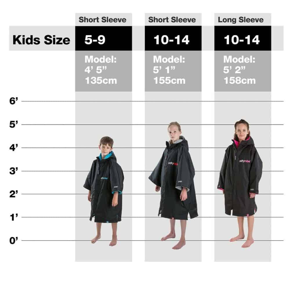 Dryrobe size guide for kids - ages 5-9, 10-14 short sleeve and long sleeve 10-14