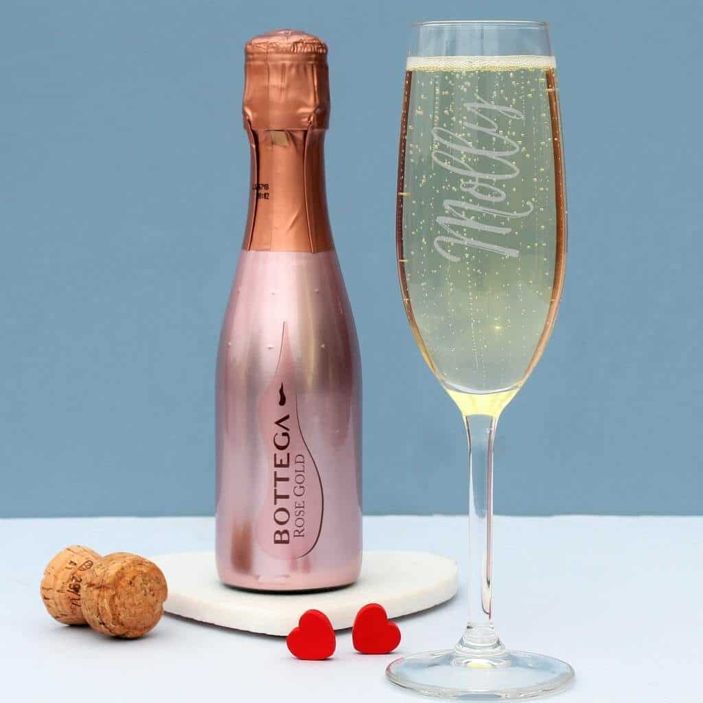 British & Bespoke Rose Gold Prosecco and Glass Gift Set (NOTHS)