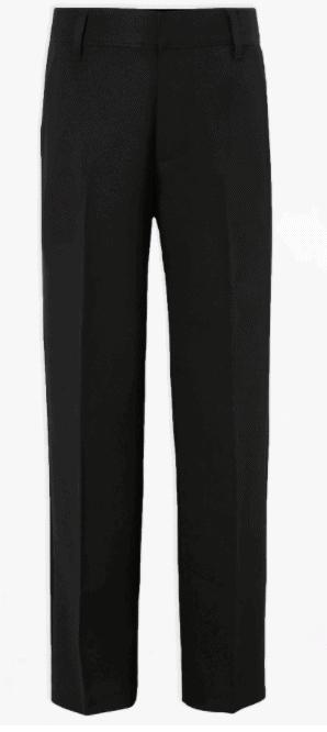 George (Asda) Boys Black Longer Length Adjustable Waist School Trousers